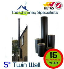 "Volcano Plus Black Twin Wall Insulated Flue Pipe Complete 5"" External System"