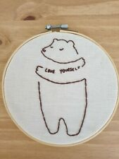Handmade Love Yourself Bear Embroidered Wall Hanging Hoop, Hand Embroidery