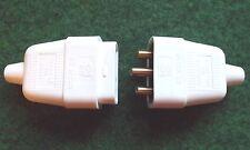230 Volt 10 Amp 3 Pin In linea Accoppiatore Connettore Spina/Presa Maschio/Femmina Bianco