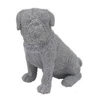 Pug Dog Silver Diamante Bling Glitzy Sparkle Figurine Ornament Statue Boxed Gift