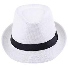 Men Women Unisex Black Ribbon Fedora Sun Straw Panama Jazz Beach Hats Cap 7 1/4