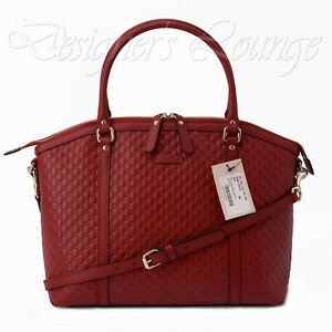NEW GUCCI Micro GG Guccissima Large Red Leather Satchel Shoulder Bag $1,950 Auth
