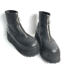 Unif Temp Platform Black Leather Chunky Zipper Boots US Ladies 10 Punk Grunge