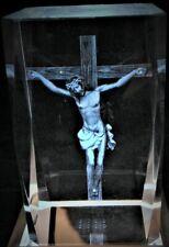 JESUS ON CROSS CRUCIFIX 3D CRYSTAL Laser+BONUS 4LIGHT BASE EASTER NEW GIFT BOXED