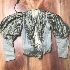 Vintage Antique 1930's Girl's Top Silk Wool Floral Beaded Eveningwear H3-19
