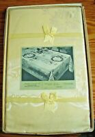 Vintage Yellow Damask Set-Tablecloth & 4 Napkins-Boxed-Never Opened