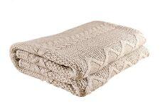 "Handmade Aran Style 100% Merino Wool 35"" X 69"" Throw Blanket Made in Ireland"