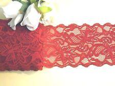 Deep Red Stretch Lace Trim 8.5 cm wide #6RD618B 1 metre