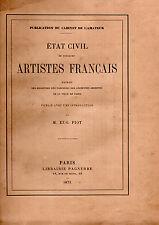 Eugène PIOT. Etat-civil de quelques artistes français