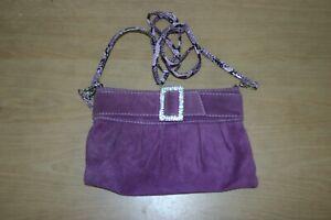 Purple Shoulder Bag with Zip Closure & Key Strap