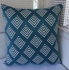 Rustic Hamptons Coastal Turquoise Sea Blue White Textured Cushion Cover 45cmn