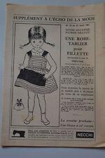 """"""" ECHO DE LA MODE """" PATRON SUPPL. DU N°35// UNE ROBE TABLIER POUR FILLETTE 6ANS"""