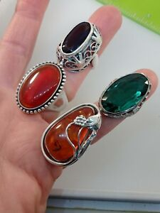 Lot of 4 Vintage Sterling Silver Rings All with Gemstones Chunky Styles