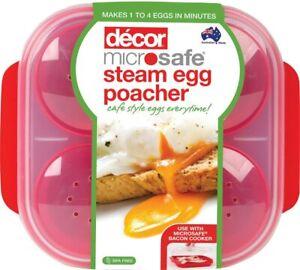 NEW Decor Microwave Steam Egg Poacher 4 Eggs BPA FREE Microsafe SAFE - FREE SHIP