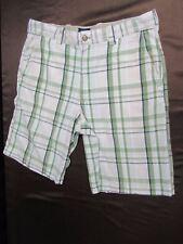 Izod men's short size 32 plaid check cotton green black beige casual