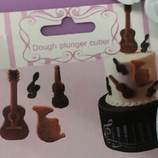4x Music Note Violin Tuba Plastic Plunger Cutter Cookie Cake Decor Fondant Mold