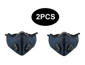 2PC Sports Anti-Pollution Breathable,Cycling, Face Mask Protection Filter Blue