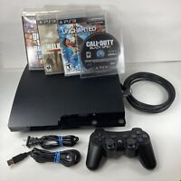 PS3 Slim 320GB Charcoal Black Console (CECH-2501B) w/ 4 Games Controller Cords
