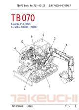 Takeuchi Tb070 Excavator Workshop And Parts Manuals Set Of 3 Manuals