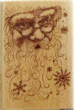 Rubber Stampede SANTA COLLAGE 3408F Santa Claus Face Snowflakes Rubber Stamp