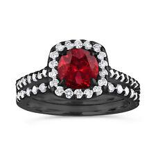 2 Carat Garnet Engagement Ring Set, With Diamonds Vintage Ring 14K Black Gold