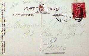 USA 1910 CRUISE SHIP HUMOR SEA POST PPC W/ 2c  TO PARIS FRANCE