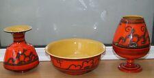 3 x Vintage 1960s Orange Dutch Gouda Tokio Pattern Pottery: Goblet + Vase + Bowl
