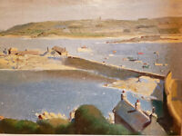 ARTHUR W. GAY (UK, 1901-1958) Original OIL SIGNED Vintage English Harbor Scene