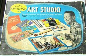 VINTAGE 1958 JON GNAGY ART MATERIALS UNUSED NO BOX CHALK PAINTS PENCILS ETC