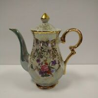 Vintage Sterling China Japan Floral Heavy Gilding Teapot Lusterware