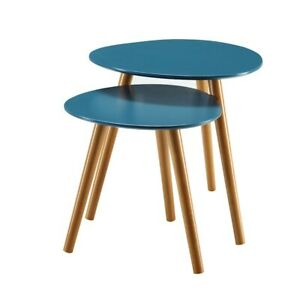 Convenience Concepts Oslo Nesting End Tables, Blue/Natural - 203542BE