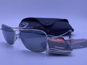 RAY BAN CARAVAN ULTRA LARGE RB8034-K 064K/N4 SILVER POLARIZED 3P AUTHENTIC LE