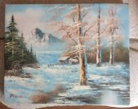 "Vintage Painting Stretched Canvas Winter Signed Thomas measure 8"" x 10"""