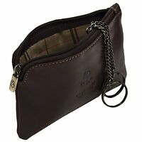 Visconti Monza 19 Leather Key Ring Zippered Coin Pouch Purse Case (Brown) Gift!!