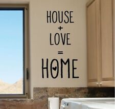 HOUSE + LOVE = HOME Wall Words Lettering Quote Decal Sticker Rustic Decor