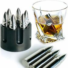 Whiskey Stones Extra Large Whiskey Bullet- 6-Pack W Realistic Revolver Base