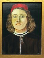 Early Renaissance Style Oil Painting Portrait Titled Young Man After Botticelli
