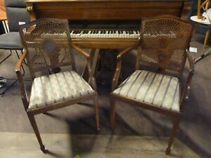 PAIR OF ANTIQUE REGENCY STYLE UPHOLSTERED MAHOGANY BEDROOM OPEN ARM CHAIRS, RUSH