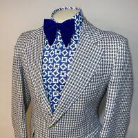 Vtg 60s 70s PLAID Blazer Jacket SPORT COAT Leisure Suit Seersucker MENS 40 LONG