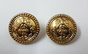 Genuine Military Issue Navy Eagle and Anchor Insignia Ring Back Buttons X2 V0341