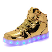 Girls Boys High Top Trainers Flashing LED Light Up Boots Casual Shoes Size