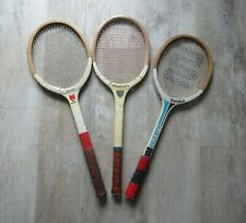 3 vintage inexpensive wooden tennis rackets for display prop use