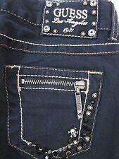 GUESS Jeans Black *Daredevil* Skinny Crystal Cross Pocket Low Ri9se SIZE 24 x 32