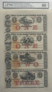 Office of South Carolina Rail Road UNCUT Sheet PMG 66 GEM Obsolete Banknote