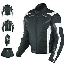 Motorcycle Jacket CE Armored Textile Motorbike Racing  Thermal Liner  White L