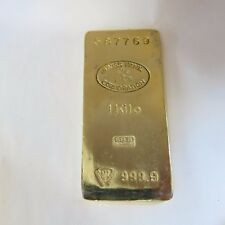 "GOLD BAR Paperweight. ""1 Kilo"" Swiss Bank Corp. ""Nothing Feels Like Real Gold"""
