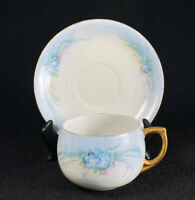 Antique Hand Painted & Signed Forget Me Not Blue Flowers Teacup Saucer Gold Trim