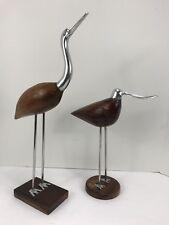Pair Of Seagulls Sculpture Carved Wood Metal India 16�