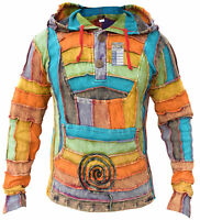 Men's Rainbow Cotton Patchwork Colorful Pullover Long Pixie Hood Hippie Jumper