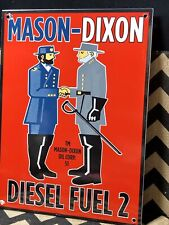 1951 MASON DIXON PORCELAIN SIGN GAS OIL CIVIL WAR Gas Pump Gas Station Diesel